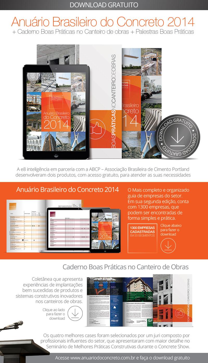 Anuario Brasileiro do Concreto 2014 + Caderno Boas Praticas no Canteiro de Obras + Paletras Boas Praticas